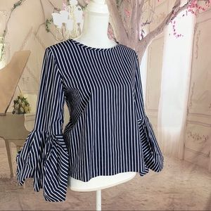 Zara Collection Striped Navy Bell Sleeve Blouse